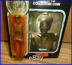 Star wars Vintage last 17 Power Force coin EV 909 figure 1985 carded droid
