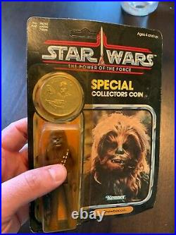 VINTAGE 1985 Kenner STAR WARS POTF Chewbacca Figure MOC Sealed with Coin RARE
