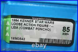 Vintage Star Wars Afa Graded Leia Endor 85 Nm 84 No Coo Figures Weapon Kenner Fv