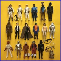 Vintage Star Wars Figures Lot. 17 in total. Accessories all original. No Repro