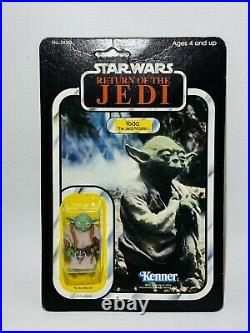 Vintage Star Wars ROTJ Yoda Brown Snake Carded Action Figure MOC Clear Bubble