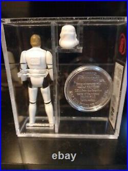 Vintage star wars figures last 17 luke stormtrooper & potf coin ukg 85%